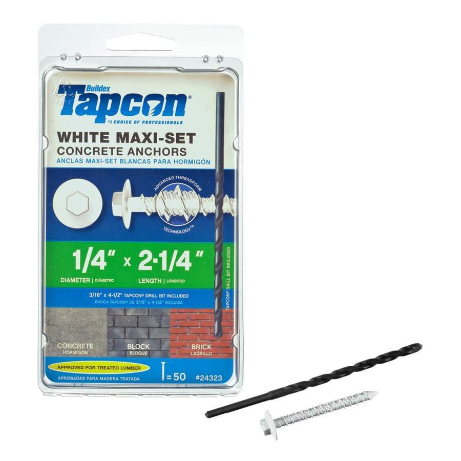 Tapcon 1/4-in x 2.25-in White Steel Self-Tapping Concrete Screw