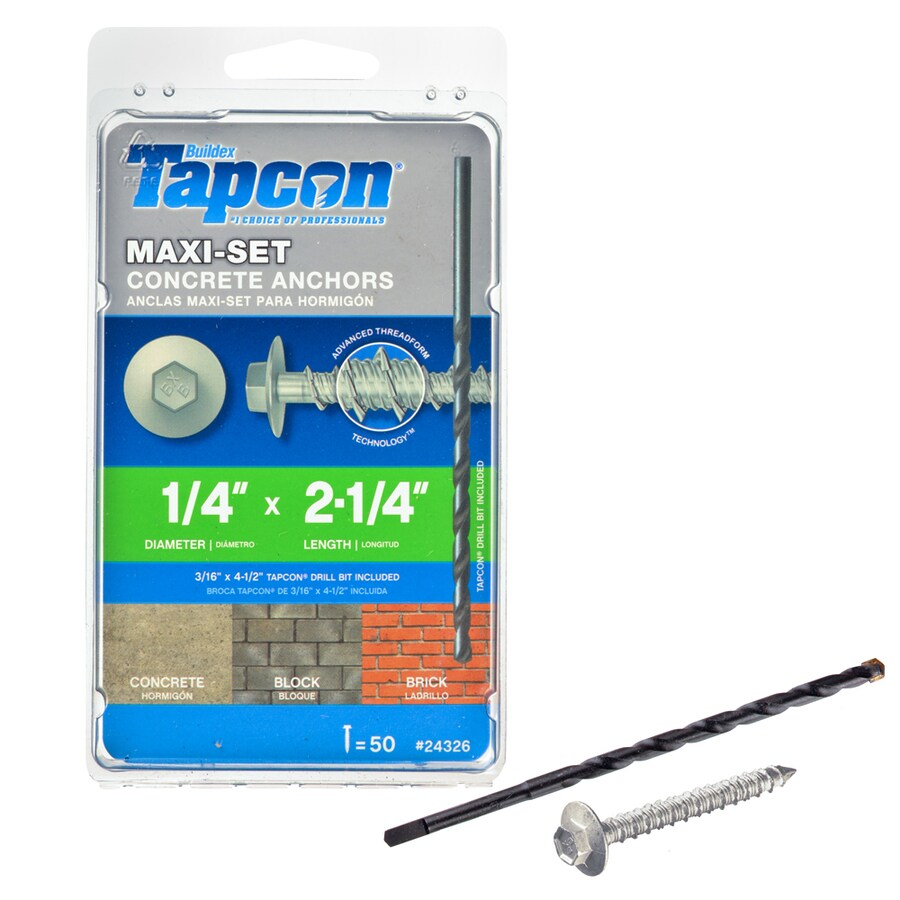 Tapcon 50-Count 1/4-in x 2.25-in Coated Steel Self-Tapping Concrete Screw
