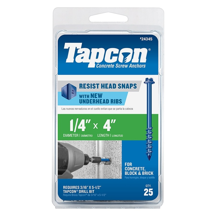 Tapcon 25-Count 1/4-in x 4-in Blue Steel Self-Tapping Concrete Screw