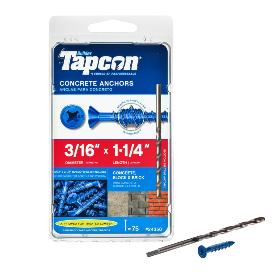 Tapcon 75-Count 3/16-in x 1.25-in Blue Steel Self-Tapping Concrete Screw