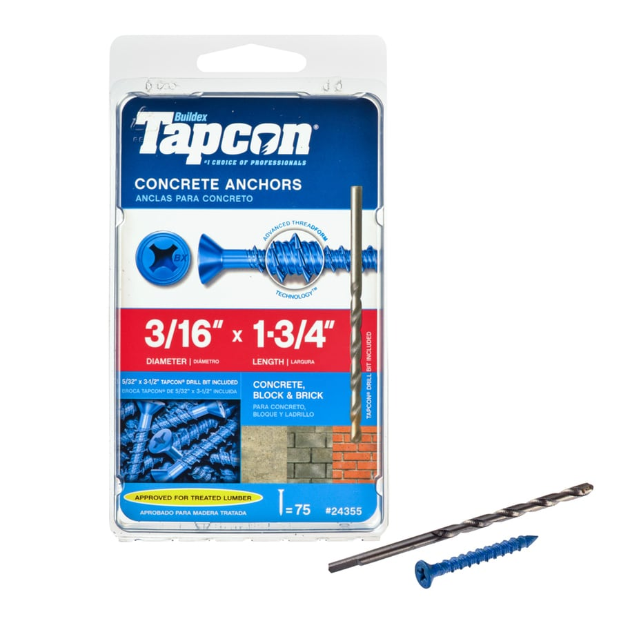 Tapcon 75-Count 3/16-in x 1.75-in Blue Steel Self-Tapping Concrete Screw