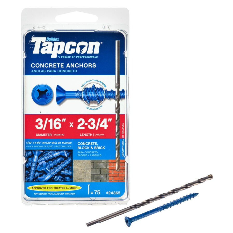 Tapcon 75-Count 3/16-in x 2.75-in Blue Steel Self-Tapping Concrete Screw
