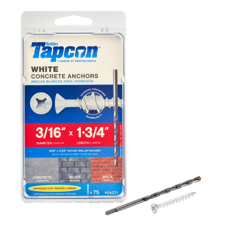 Tapcon 75-Count 3/16-in x 1.75-in White Steel Self-Tapping Concrete Screws