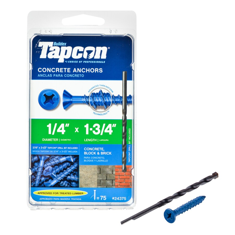 Tapcon 75-Count 1/4-in x 1.75-in Blue Steel Self-Tapping Concrete Screw