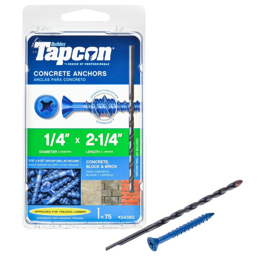 Tapcon 75-Count 1/4-in x 2.25-in Blue Steel Self-Tapping Concrete Screw