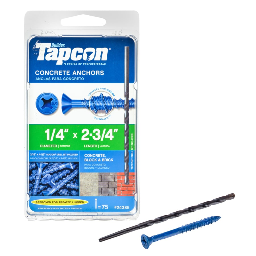 Tapcon 75-Count 1/4-in x 2.75-in Blue Steel Self-Tapping Concrete Screw