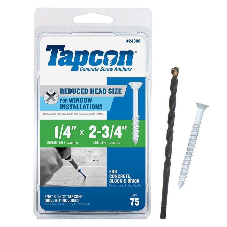 Tapcon 75-Count 1/4-in x 2.75-in White Steel Self-Tapping Concrete Screw