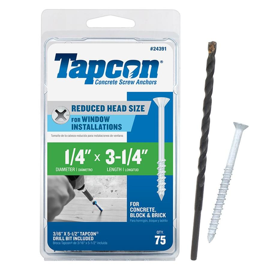 Tapcon 75-Count 1/4-in x 3.25-in White Steel Self-Tapping Concrete Screws
