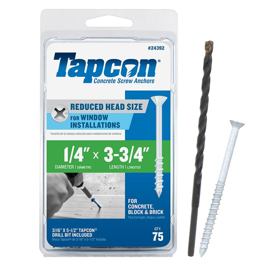 Tapcon 75-Count 1/4-in x 3.75-in White Steel Self-Tapping Concrete Screws