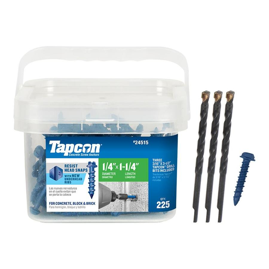 Tapcon 225-Count 1/4-in x 1.25-in Blue Steel Self-Tapping Concrete Screw