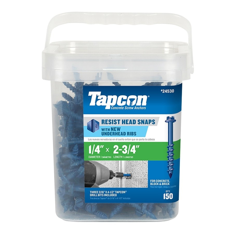 Tapcon 150-Count 1/4-in x 2.75-in Blue Steel Self-Tapping Concrete Screw