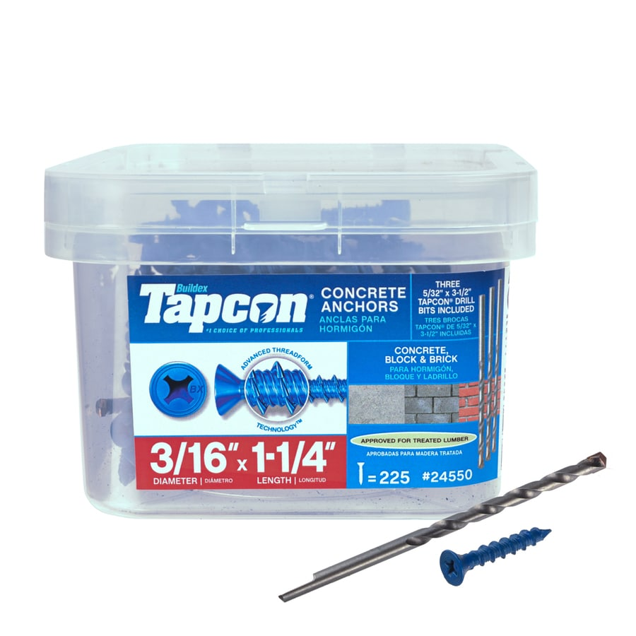 Tapcon 225-Count 3/16-in x 1.25-in Blue Steel Self-Tapping Concrete Screws