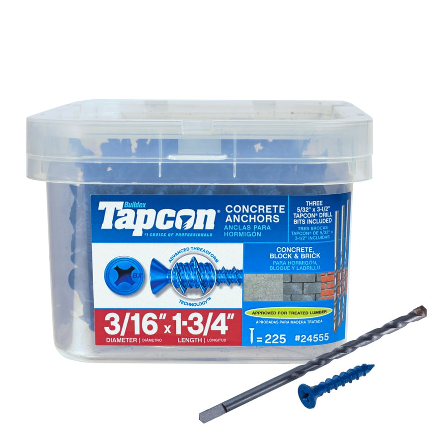 Tapcon 225-Count 3/16-in x 1.75-in Blue Steel Self-Tapping Concrete Screws