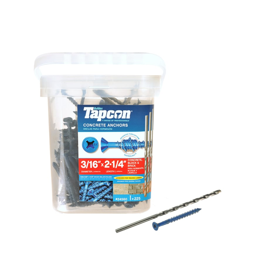 Tapcon 225-Count 3/16-in x 2.25-in Blue Steel Self-Tapping Concrete Screws