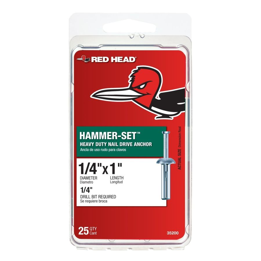 Red Head 1/4 x 1 Hammer-Set Anchor, 25-Pack