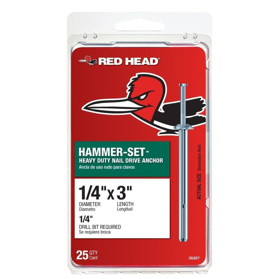 Red Head 1/4 x 3 Hammer-Set Anchor 25 Pack