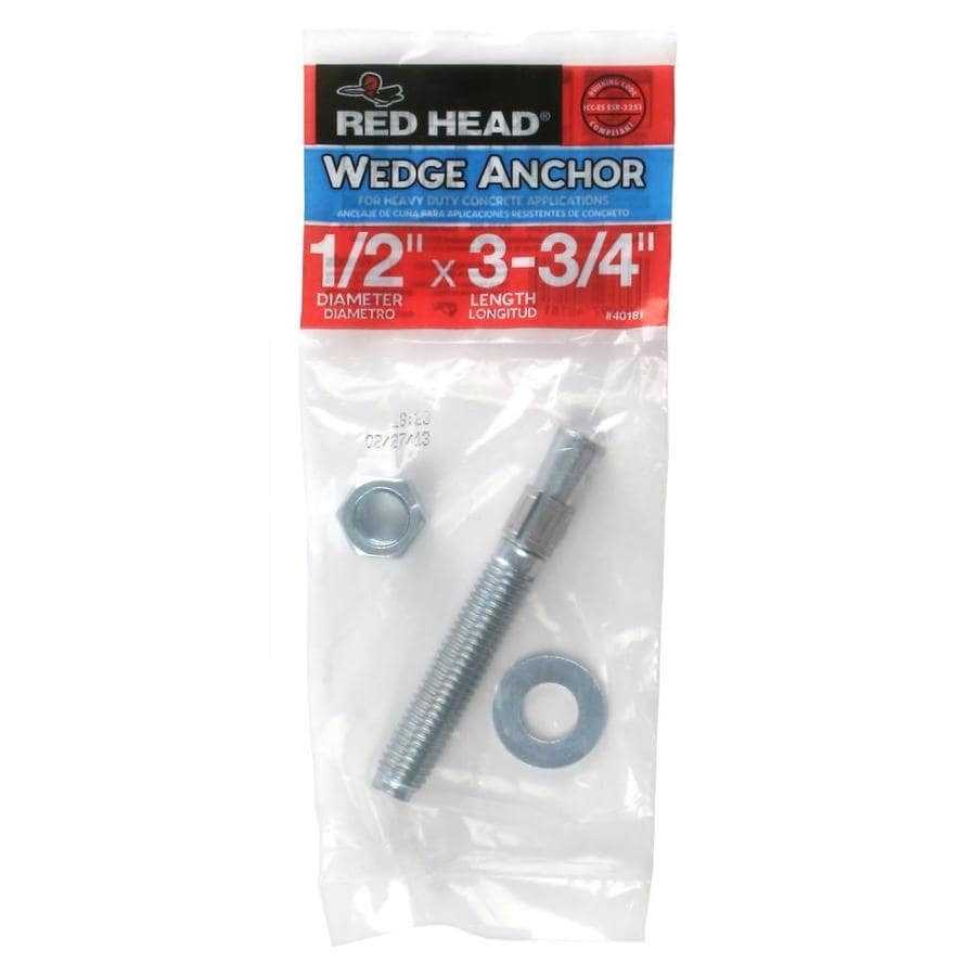 Red Head 1/2-in x 3-3/4-in Wedge Anchor for Solid Concrete