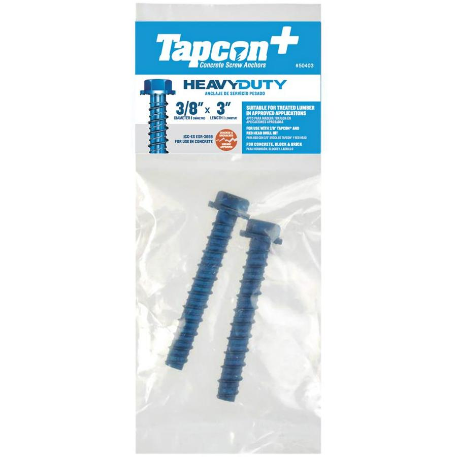 Tapcon 2-Pack 3-in x 0.375-in Blue Steel Heavy-Duty All-Purpose Anchors with Screws
