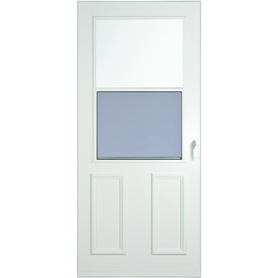 LARSON Villager White High-View Wood Core Storm Door with Self-Storing (Common: 36-in x 81-in; Actual: 35.75-in x 79.875-in)