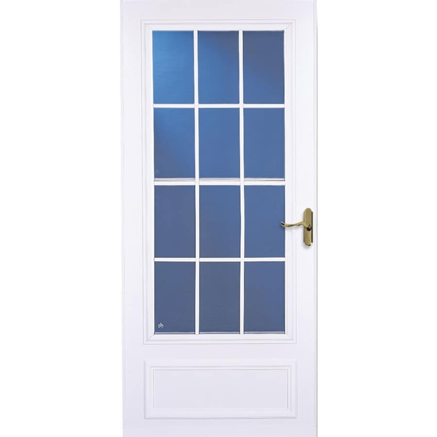 LARSON 36-in x 81-in White Colonial Mid-View Tempered Glass Storm Door