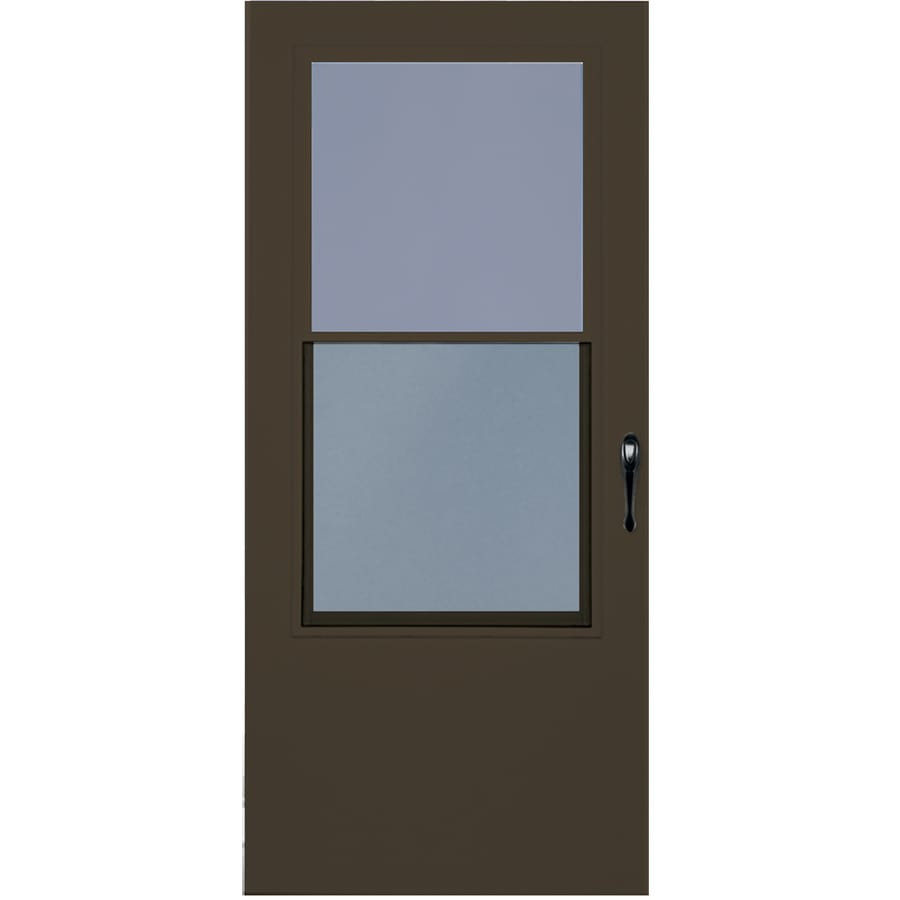 LARSON Bismarck-aluminum Brown Mid-View Wood Core Storm Door with Self-Storing (Common: 32-in x 81-in; Actual: 31.75-in x 79.875-in)