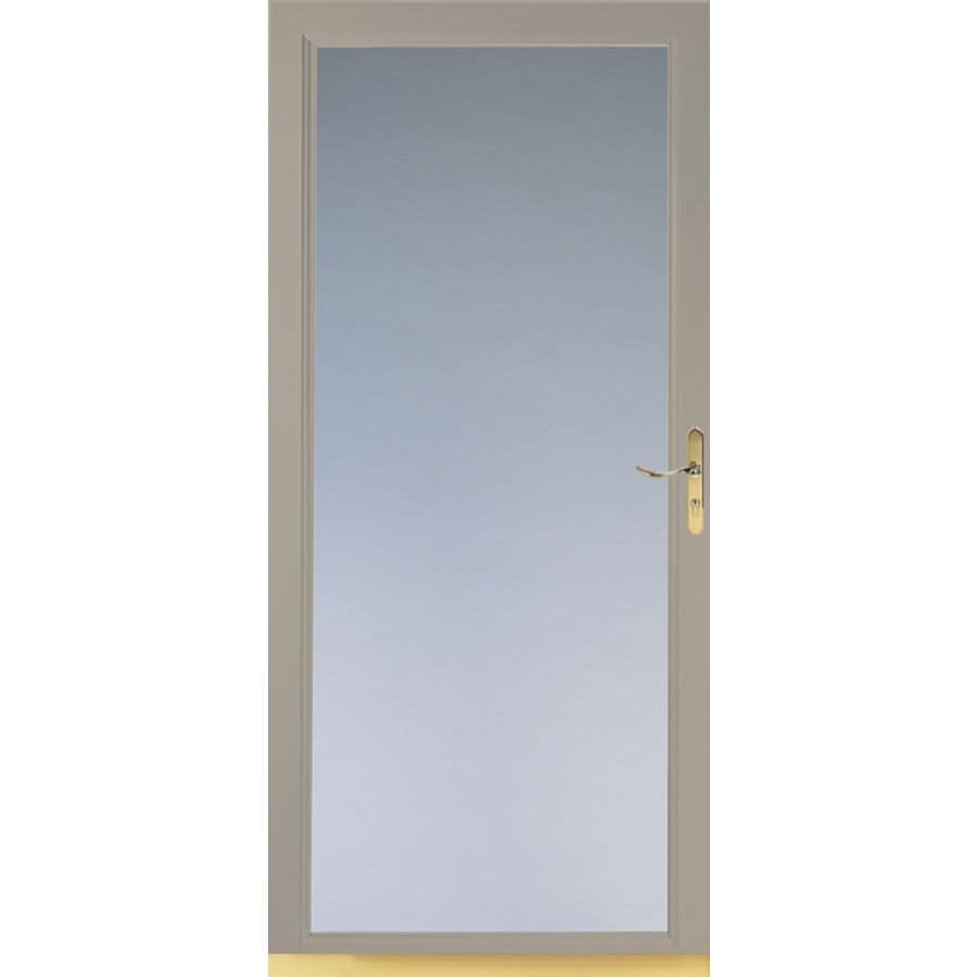 LARSON Signature Sandstone Full View Tempered Glass And Interchangeable Screen  Storm Door (Common:
