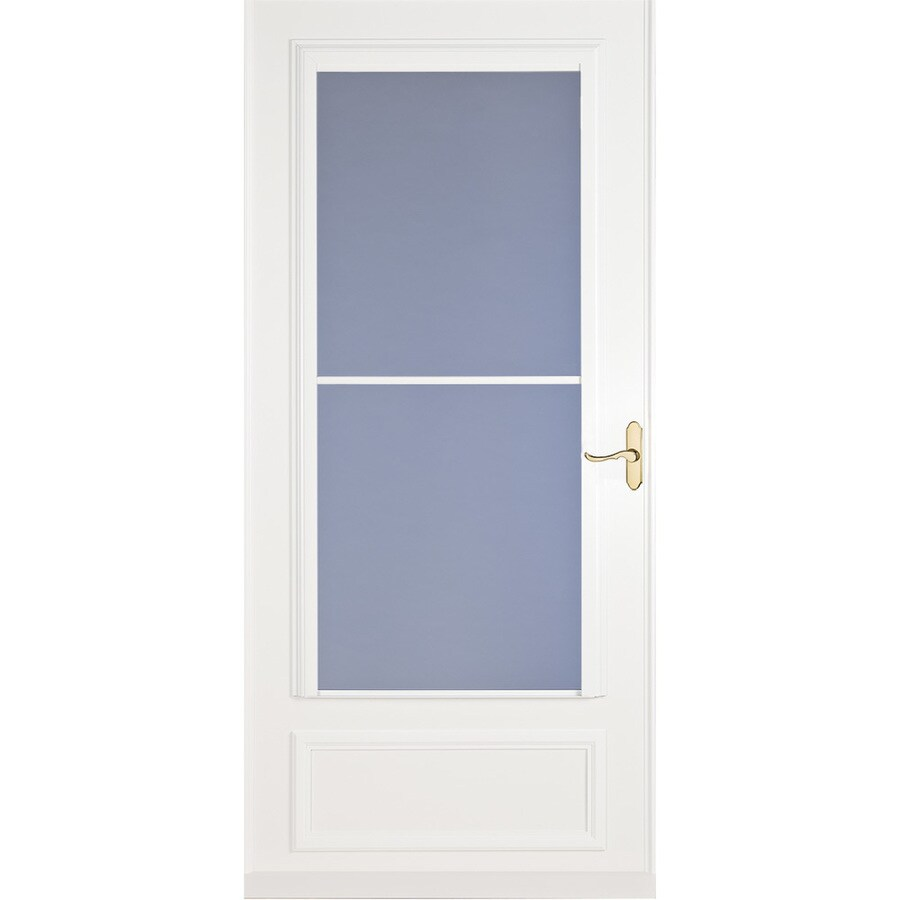 LARSON Savannah White Mid-View Wood Core Retractable Screen Storm Door (Common: 36-in x 81-in; Actual: 35.75-in x 79.875-in)