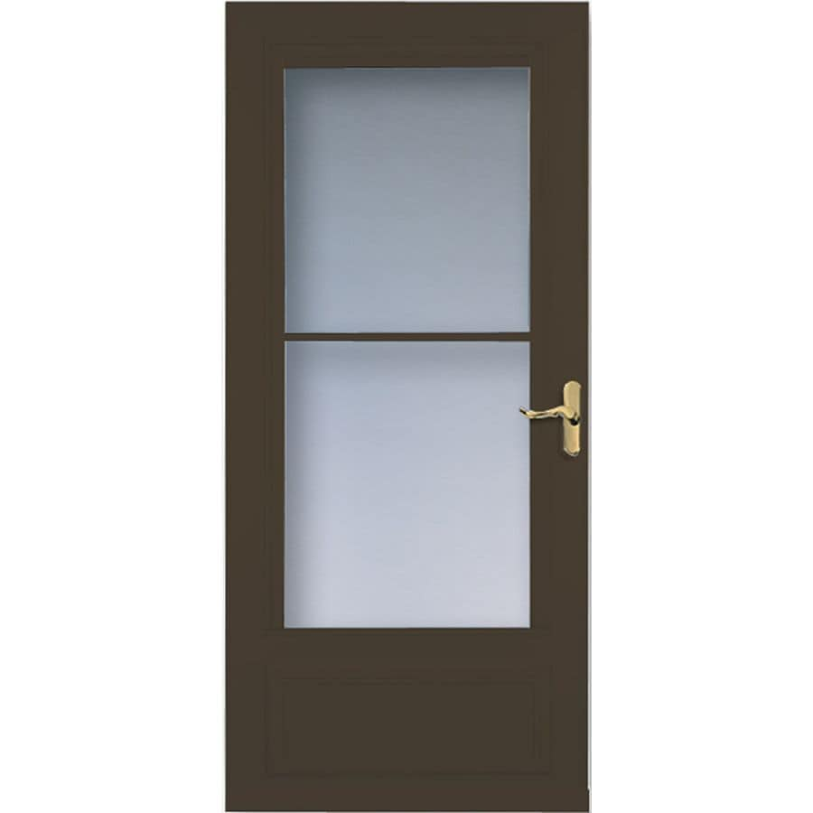 Shop larson savannah brown mid view wood core storm door for Disappearing screen doors lowes