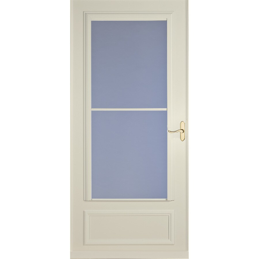 Shop larson savannah almond mid view wood core storm door for 32x80 storm door