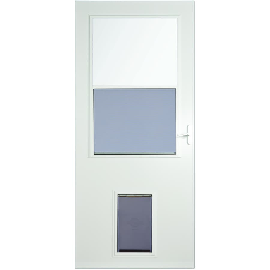 LARSON White High-View Wood Core Storm Door with Pet Door (Common: 36-in x 81-in; Actual: 35.75-in x 79.875-in)