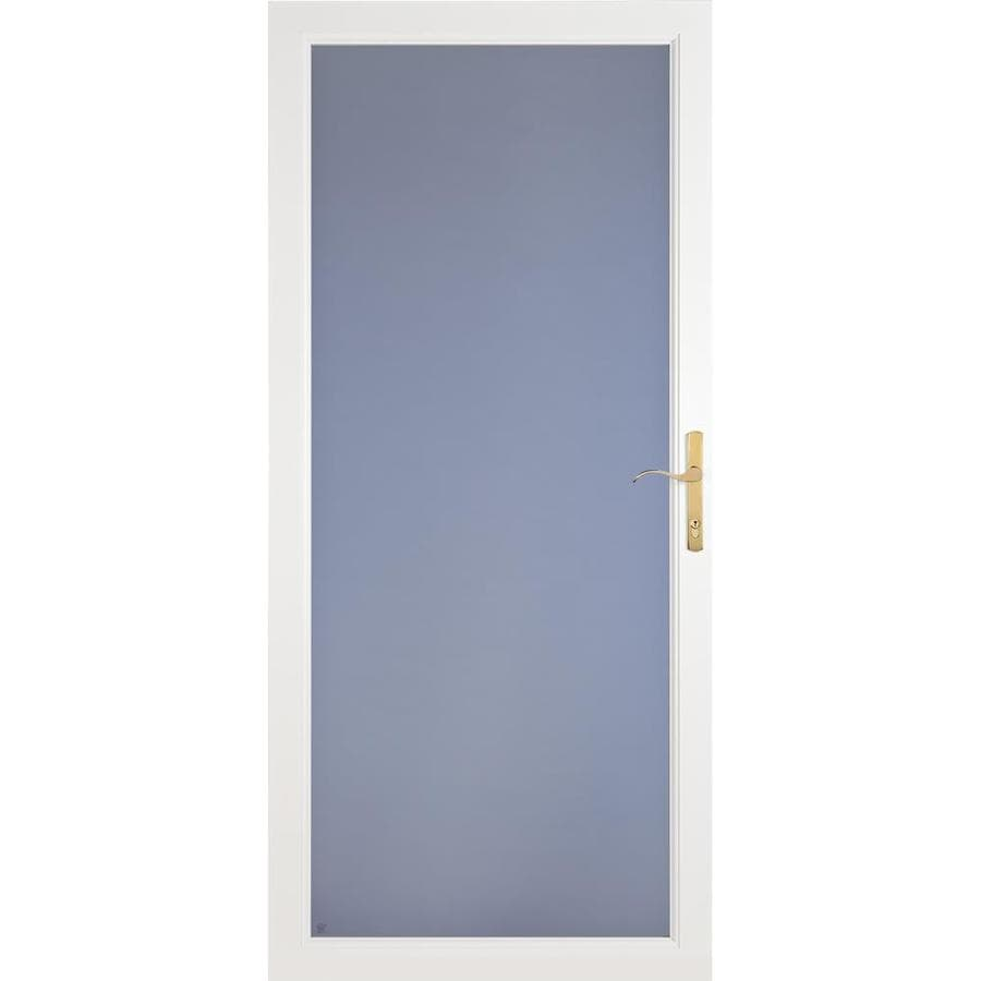 LARSON Secure Elegance White Full-View Aluminum Standard Storm Door (Common: 36-in x 81-in; Actual: 35.75-in x 79.75-in)