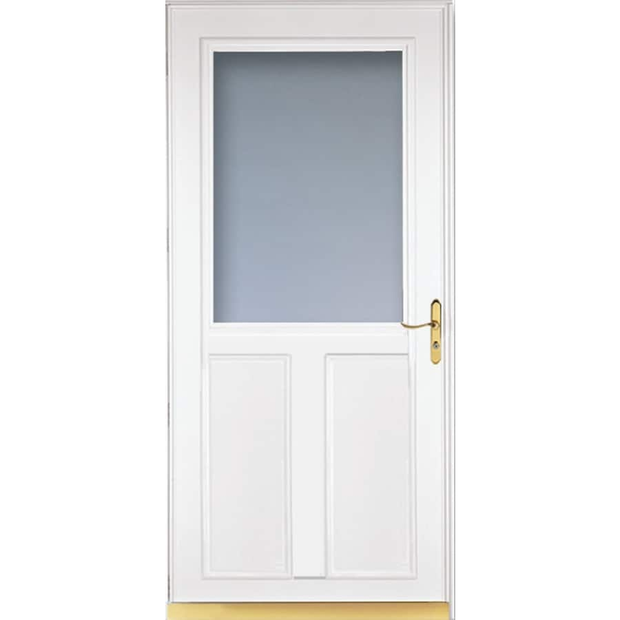 Shop larson tradewinds white high view aluminum for Disappearing screen doors lowes