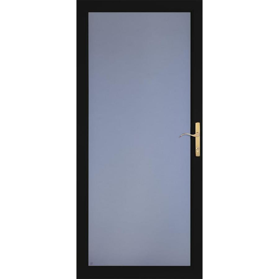 LARSON Secure Elegance Black Full-View Laminated Security Glass Aluminum Storm Door (Common: 32-in x 81-in; Actual: 31.75-in x 79.75-in)