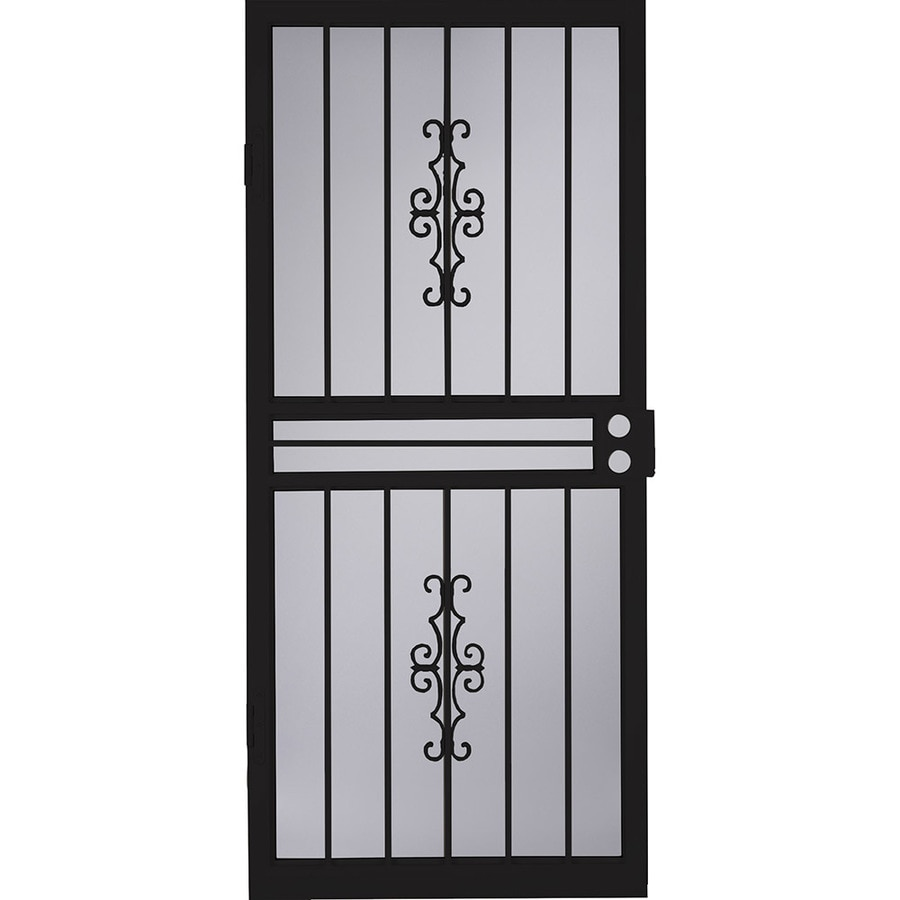 LARSON Courtyard Black Steel Recessed Mount Single Security Door (Common: 32-in x 8-in; Actual: 31.75-in x 79.75-in)