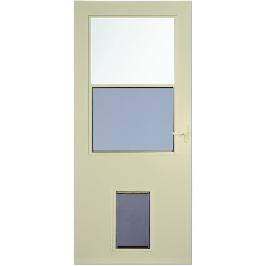 Shop Larson Almond High View Wood Core Storm Door With Pet Door Common 32 In X 81 In Actual
