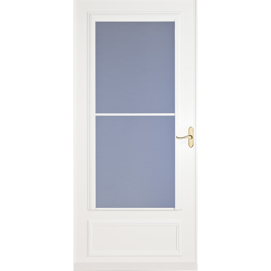 LARSON Savannah White Mid-View Tempered Glass Retractable Wood Core Storm Door (Common: 34-in x 81-in; Actual: 33.75-in x 79.875-in)