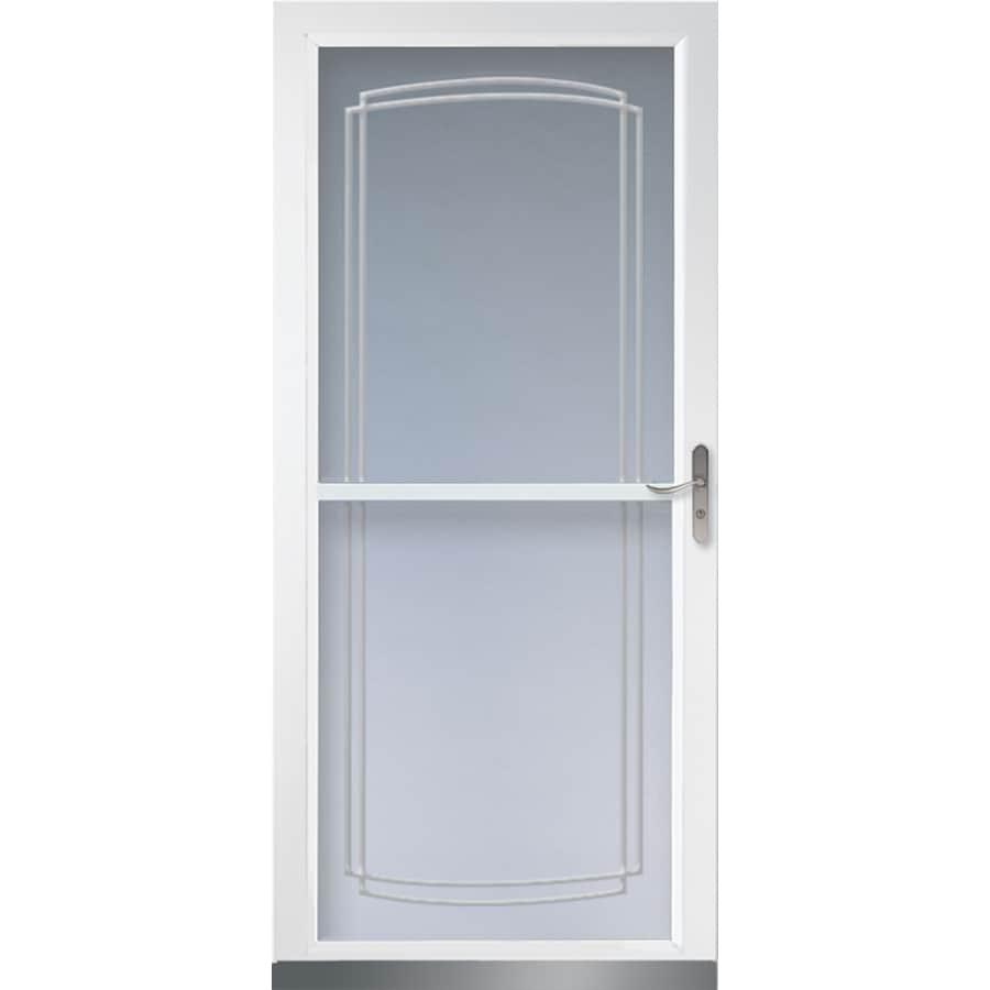 Larson Tradewinds White Full View Aluminum Retractable Screen Storm Door Common 36