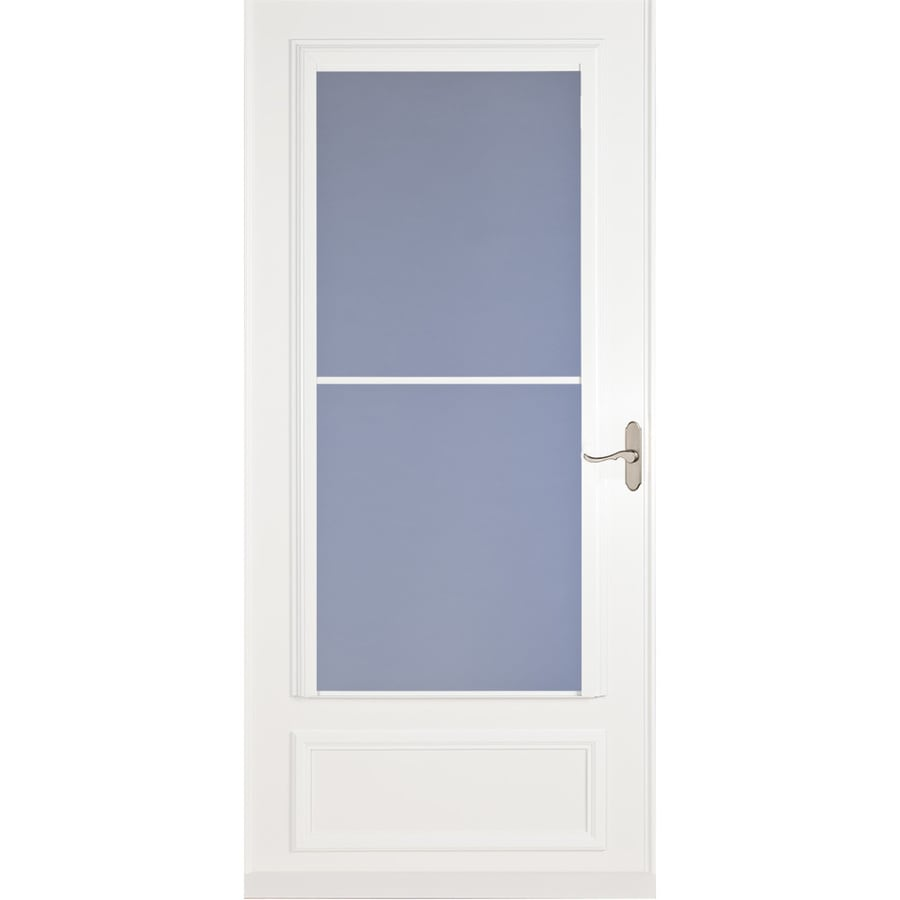 Shop larson savannah white mid view wood core storm door for Disappearing screen doors lowes