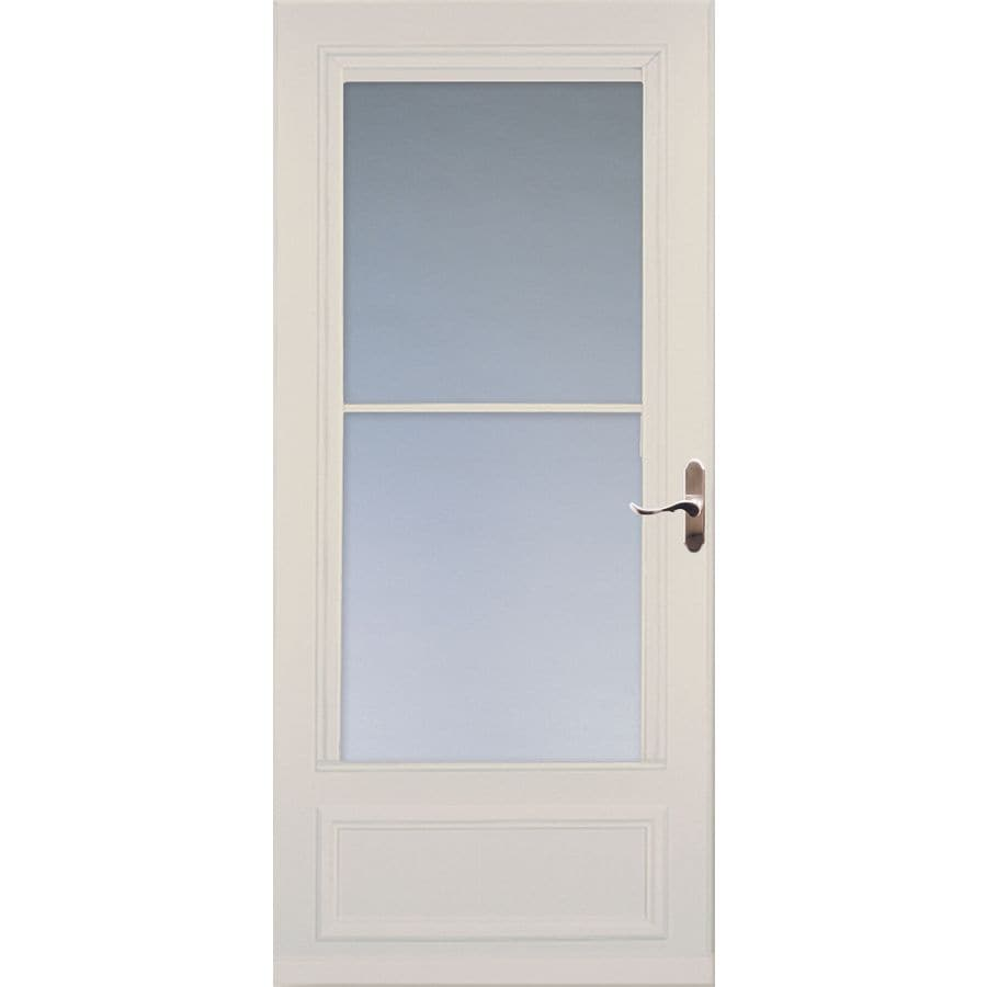 Shop larson savannah almond mid view wood core storm door for Retractable screen door