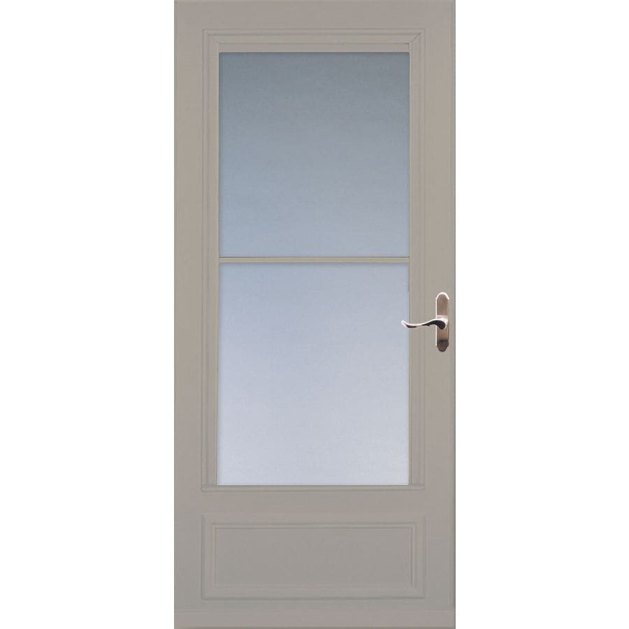 Shop larson savannah sandstone mid view wood core storm for Phantom door screens prices