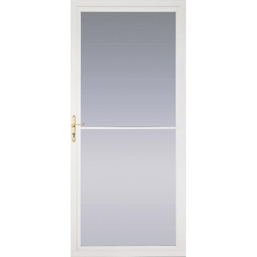 Pella Montgomery White Full-View Aluminum Retractable Screen Storm Door (Common: 36-in x 81-in; Actual: 35.75-in x 79.875-in)