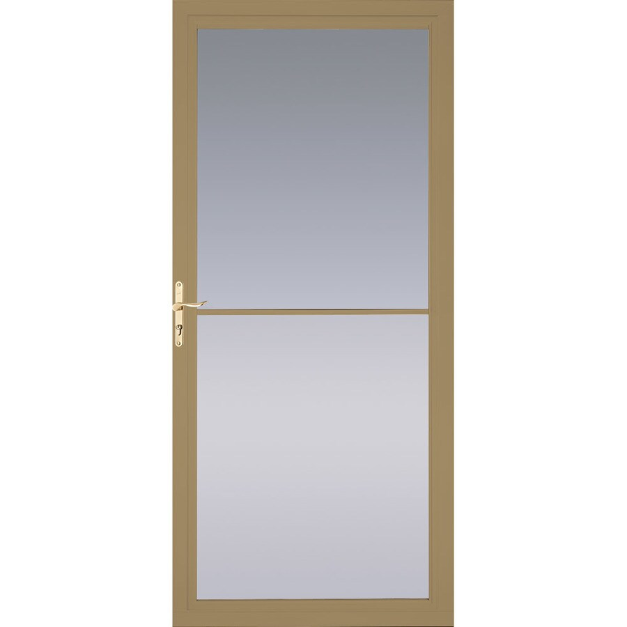 Pella Montgomery Putty Full-View Aluminum Storm Door with Retractable Screen (Common: 32-in x 81-in; Actual: 31.75-in x 79.875-in)