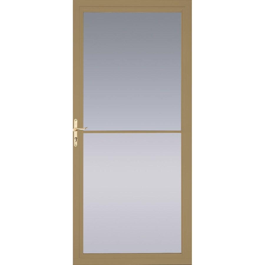 Shop pella montgomery putty full view aluminum storm door for 36 inch retractable screen door