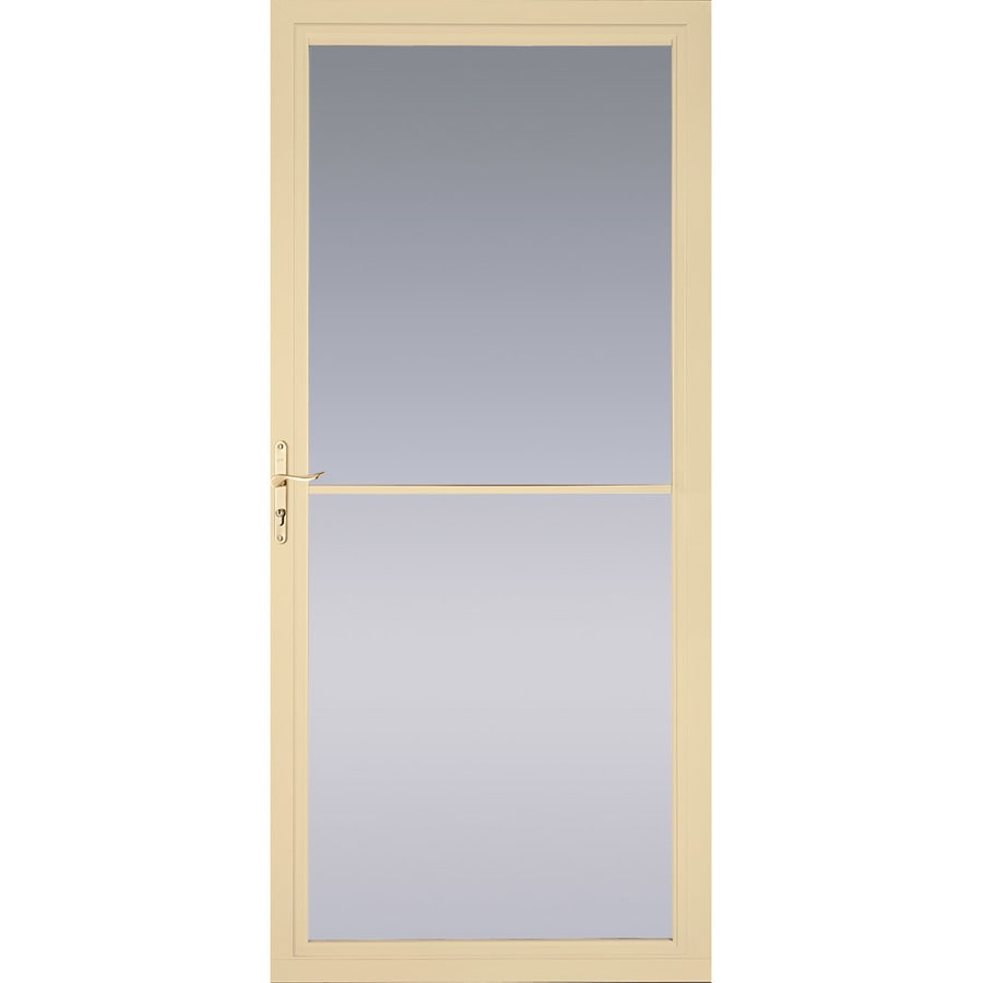 Pella Montgomery Poplar White Full-View Tempered Glass Retractable Aluminum Storm Door (Common: 32-in x 81-in; Actual: 31.75-in x 79.875-in)