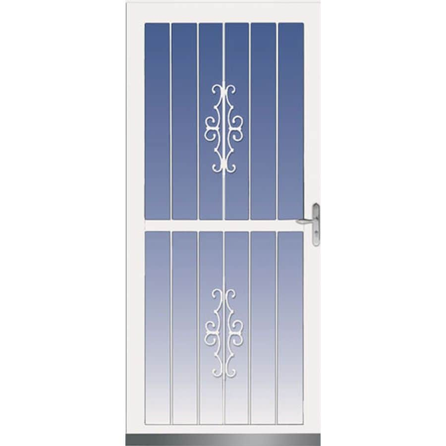 LARSON Madrid White Aluminum Recessed Mount Single Security Door (Common: 36-in x 81-in; Actual: 35.75-in x 79.75-in)