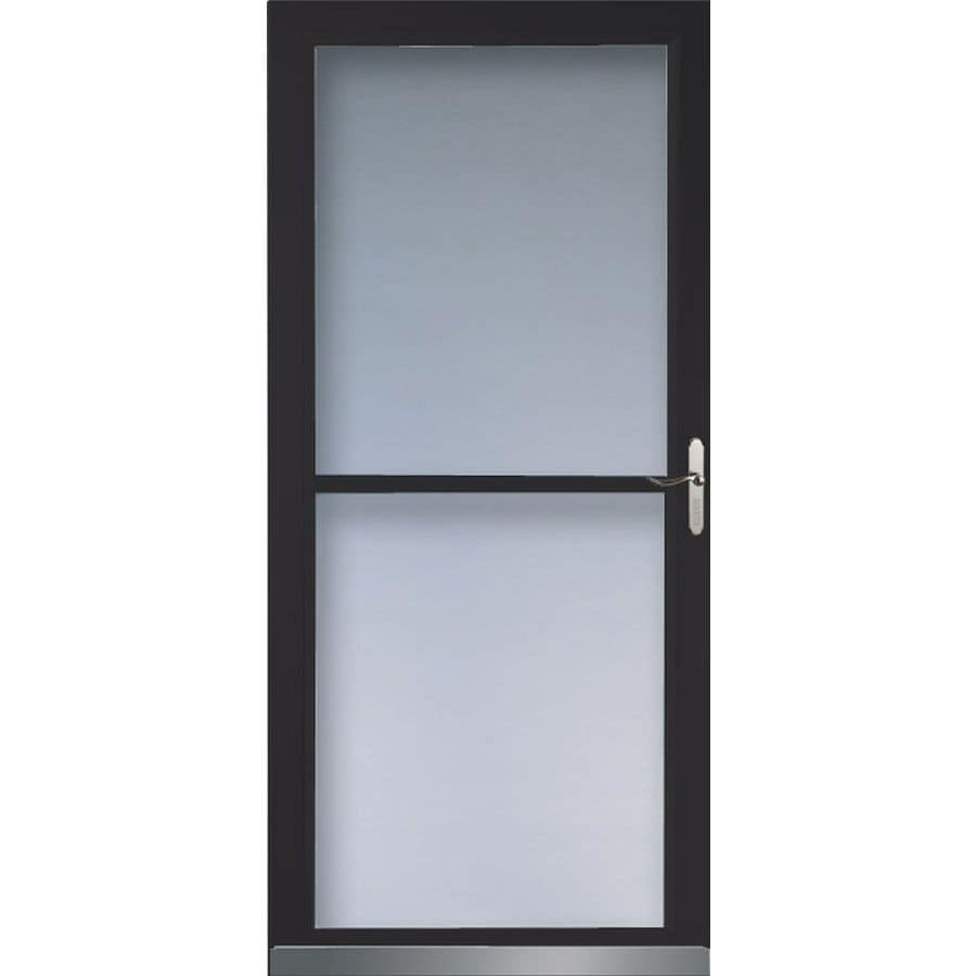 Shop larson 32 in w black retractable screen storm door at for Disappearing screen doors lowes
