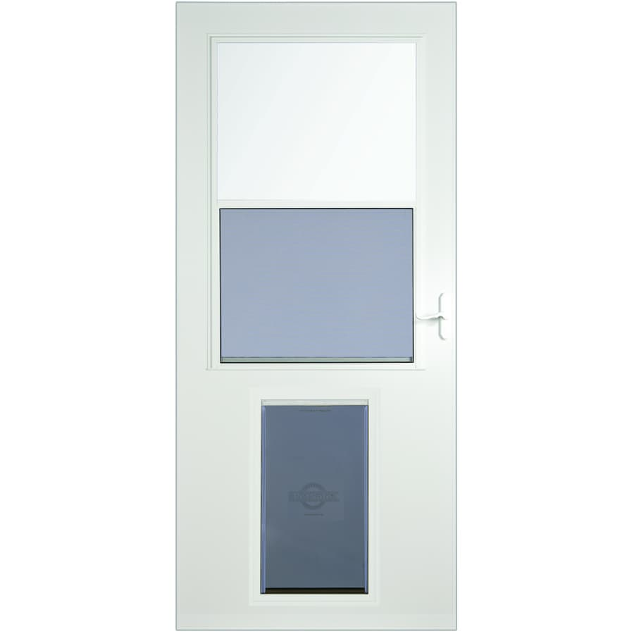 Shop LARSON White High-View Wood Core Storm Door with Pet Door ...