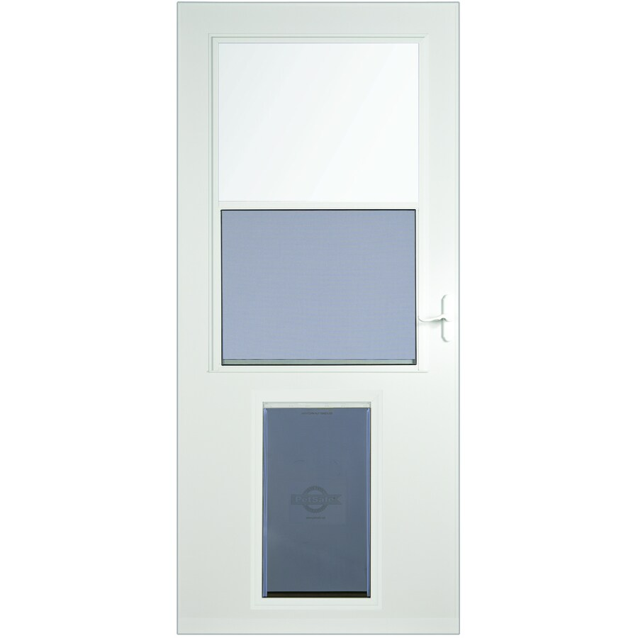 Shop storm doors at lowes larson high view wood core storm door with pet door common 32 rubansaba