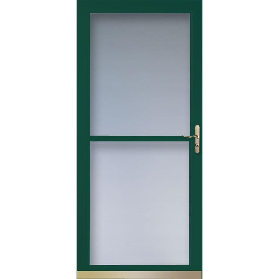 LARSON Tradewinds Green Full View Tempered Glass Retractable Screen Storm  Door (Common: 36