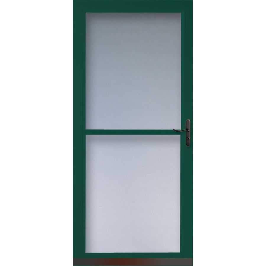 LARSON Tradewinds Green Full-View Tempered Glass Retractable Screen Storm Door (Common: 32-in x 81-in; Actual: 31.75-in x 79.75-in)